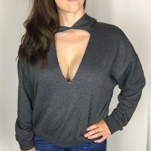 Lush Low V Neck Cutout Sweatshirt with Hood